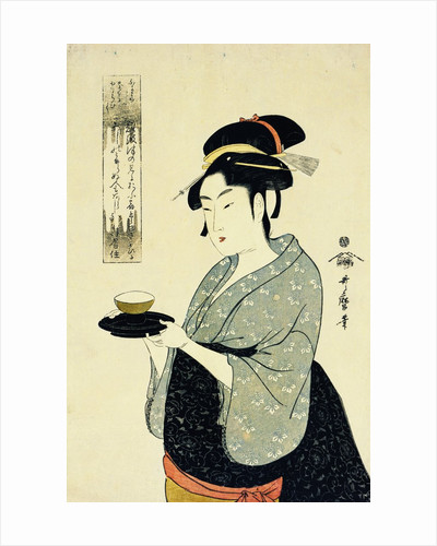 A Half-Length Portrait of Naniwaya Okita, Depicting the Famous Teahouse Waitress Serving a Cup of Tea by Utamaro