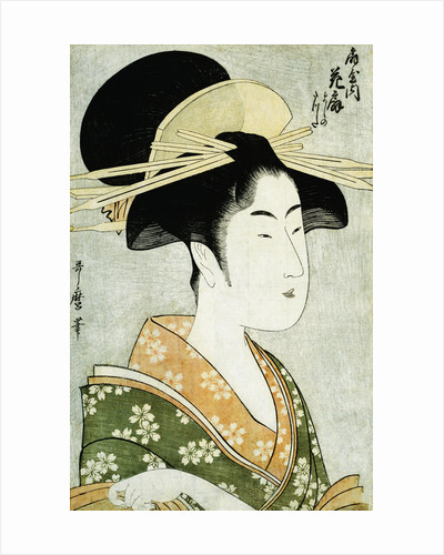 Portrait of the Courtesan Hanaogi of the Ogiya, Wearing an Over-Kimono by Utamaro