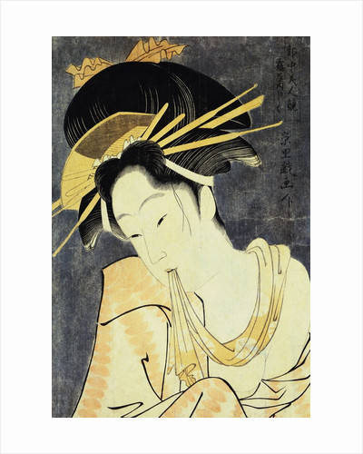 The Courtesan Kashiku of the Tsuruya Holding in Her Teeth an End of Cloth Draped Around Her Bare Shoulder by Eiri