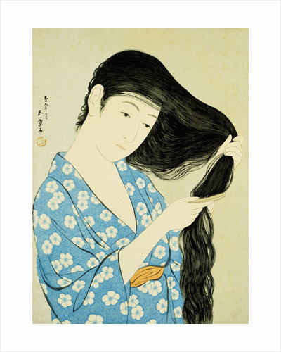 A Half-Length Portrait of a Beauty Combing Her Hair by Goyo