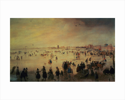 Different Kinds of People on Frozen Floodwaters by Hendrick Avercamp