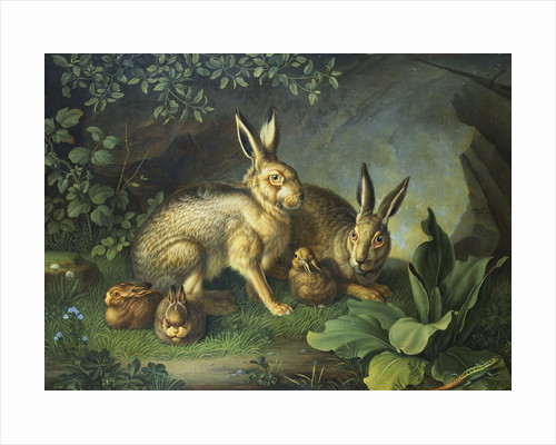 Hares and Leverets in a Rocky Lair by Wenzel Peter
