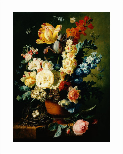 A Still Life of Roses, Tulips, Hyacinths and Wall Flowers by Paul Theodor van Brussel