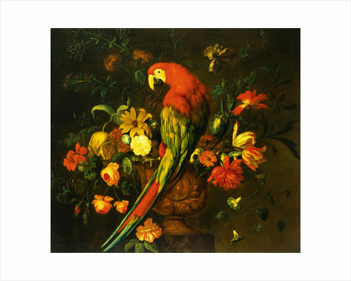 Painting of a Scarlet Macaw Perched on a Sculpted Urn with a Bouquet by Justus van Huysum I
