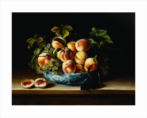 Still Life of Peaches and Grapes in a Chinese Porcelain Bowl by Corbis