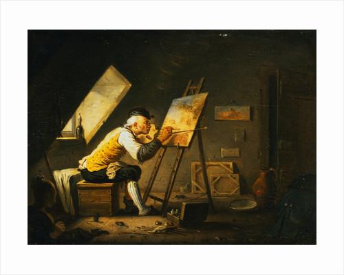 Painter Painting in a Garret Studio by Alexandre Joseph Desenne