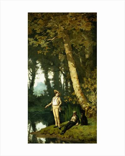 Fishermen at a Riverbank by Henri Joseph Harpignies