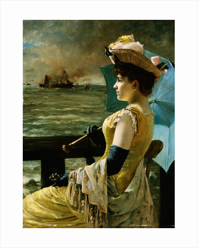 A Lady with a Parasol Looking Out to Sea by Alfred Stevens