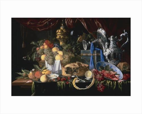 A Still Life with a Pie Pewter Plate, a Lemon, a Silver Spoon, Crayfish and Shrimp by Jan Davidsz de Heem