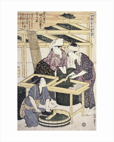 Silkworm Culture by Women Featuring Two Women Transferring Silkworm Eggs by Hitsu Utamaro