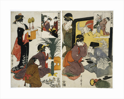 Two acts from the series the Treasury of the Loyal Retainers (Chushingura) by Utamaro