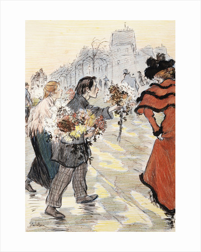 Book Illustration Showing a Street Scene with Flower Vendors by Theophile Alexandre Steinlen