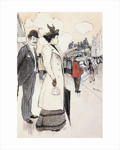 Book Illustration Showing a Street Scene with a Couple Waiting for a Trolley by Theophile Alexandre Steinlen