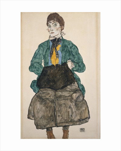 Woman in a Green Blouse with a Muff by Egon Schiele
