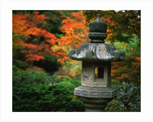 Stone Lantern in the Japanese Tea Garden at the University of Washington Arboretum by Corbis