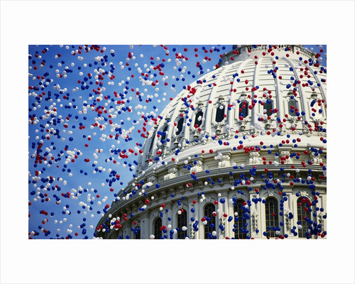 Balloons Floating over U.S. Capitol Dome by Corbis