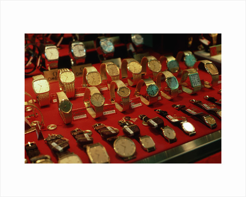 Watches in Jewelry Store Display by Corbis