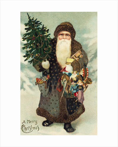 Postcard of Santa Claus with Toys by Corbis