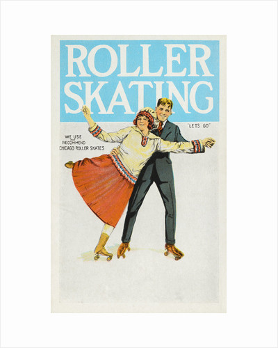 Postcard of Couple Roller Skating by Corbis