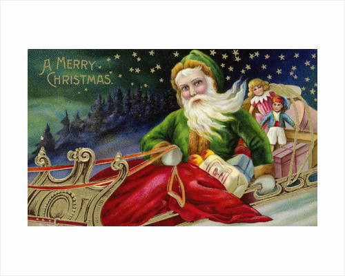 A Merry Christmas Postcard with Santa in a Sleigh by Corbis