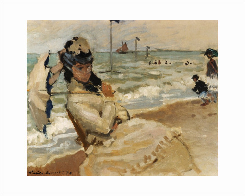 Camille [Monet] on the Beach, Trouville by Claude Monet