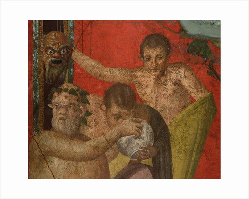 Detail of Silenus and Satyrs from Initiation into the Cult of Dionysus Fresco Cycle at the Villa of Mysteries by Corbis