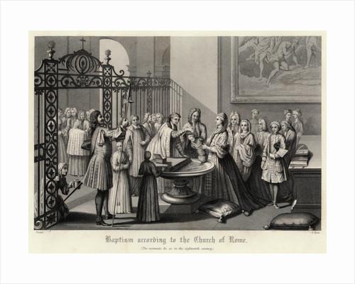 Engraving of a Roman Catholic Baptism by Corbis