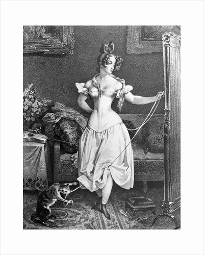 Woman in Corset with Cat Toying at Her Ribbon by Corbis