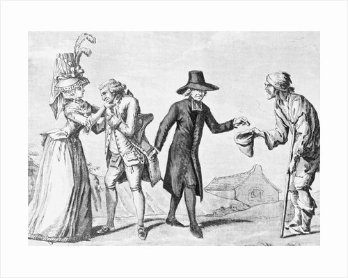 Print of a Clergyman Stealing from the Rich to Give to the Poor by Corbis