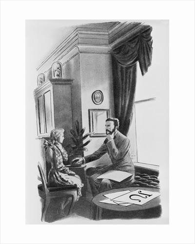 Lithograph of Alexander Graham Bell Teaching Deaf Student by Corbis