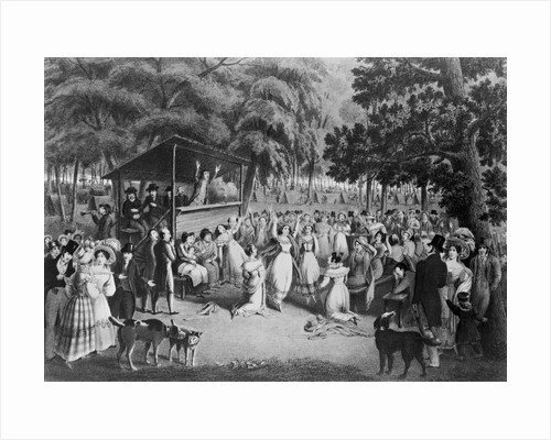 Lithograph of an Outdoor Religious Meeting by H. Bridport