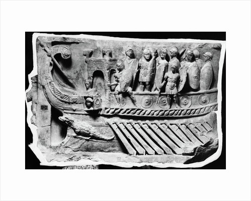 Roman Relief Sculpture with Soldiers on Boat by Corbis