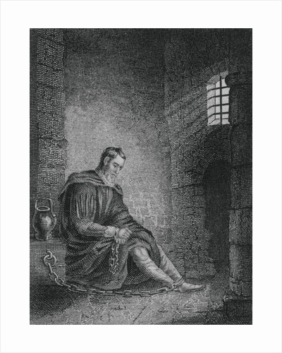 Christopher Columbus with Bowed Head in Jail Cell by Corbis