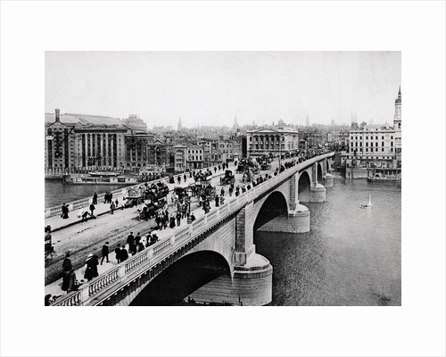 Pedestrians and Vehicles Crossing Bridge by Corbis