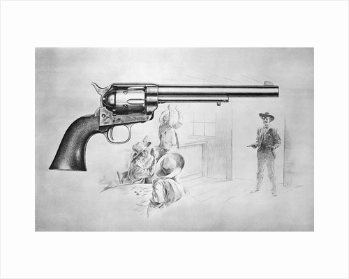 Depiction of Sheriff Entering Door Behind Superimposed Gun by Corbis
