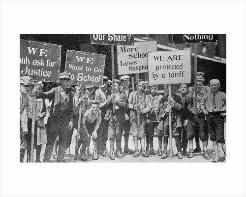 Child Textile Workers Holding Protest Signs During Strike by Corbis