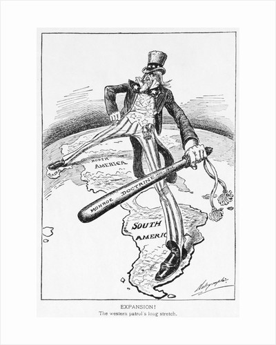 Uncle Sam with a Big Stick Political Cartoon by Louis Dalrymple
