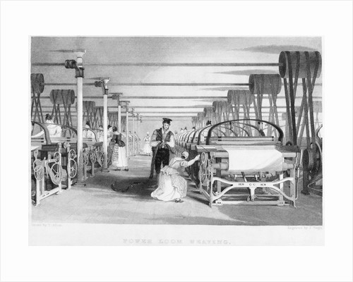 Interior of Power Loom Weaving Factory by Corbis