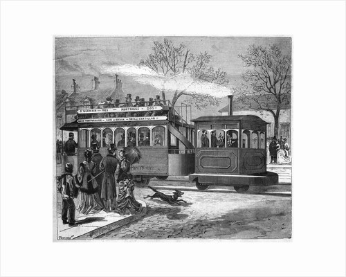 Illustration of a Steam Tramway in Paris in 1876 by Corbis