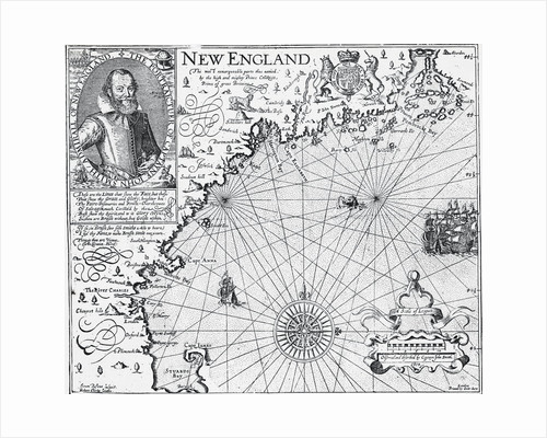 Map of New England with Portrait of John Smith by Corbis