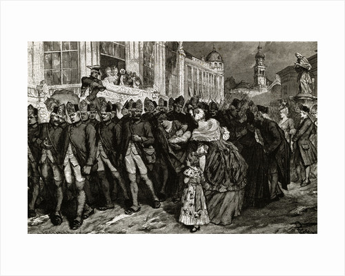 Hessian Mercenaries Saying Goodbye to Families by Corbis