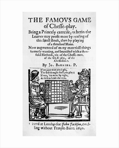 17th Century Cover to Chess Pamphlet by Corbis