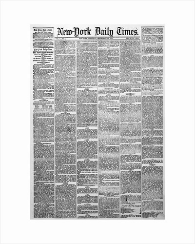 New York Daily Times Newspaper of Eighteen Fifty One by Corbis