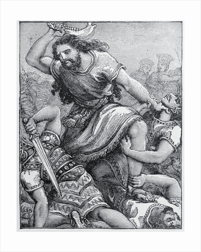 Samson with Weapon in Hand Against Philistines by Corbis
