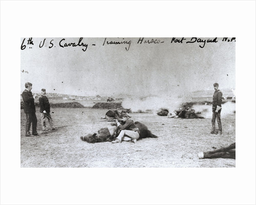 American Cavalry Men with Horses as Shields During Weapon Firing by Corbis