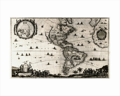 Early Map of the Americas by Corbis