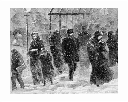 Pedestrians Walking in a Blizzard by Stanley Fox
