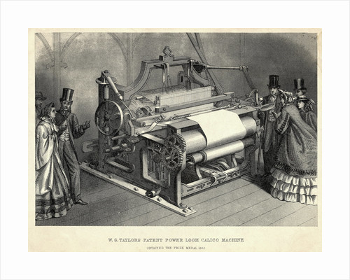 W.G Taylors Patent Power Loom Calico Machine Engraving by Corbis