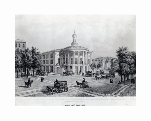 Pedestrian and Buggy Travelers on the Merchant's Exchange in Early Philadelphia by Corbis