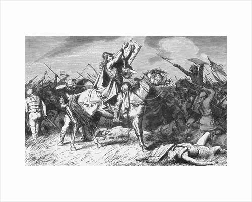 Clovis on Horseback and Gesturing for Prayer by Corbis